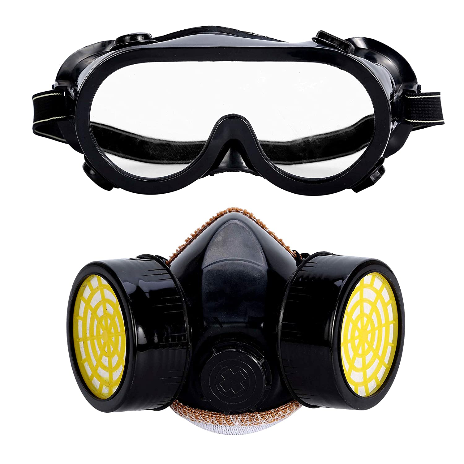 1ae8398ffd9 Holulo Half Face Respirator with Goggle Anti-Dust Paint Mask Glasses Set  Head Protection (black) - - Amazon.com