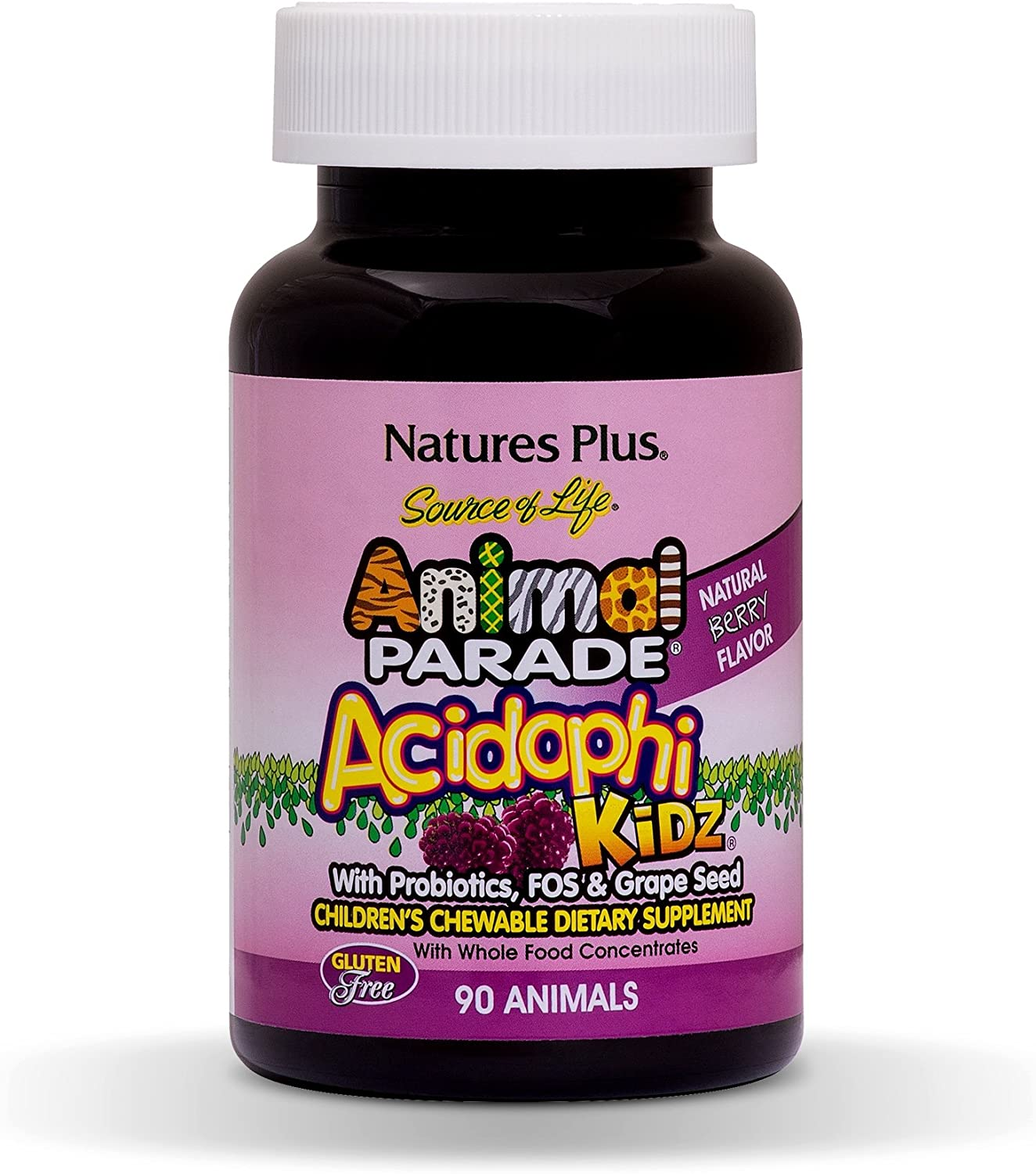 NaturesPlus Animal Parade Source of Life Acidophikidz Childrens Chewables - 90 Animal Shaped Tablets - Natural Berry Flavor - Vegetarian, Gluten-Free - 90 Servings