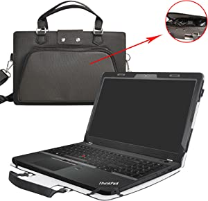 "ThinkPad E560 Case,2 in 1 Accurately Designed Protective PU Leather Cover + Portable Carrying Bag for 15.6"" Lenovo ThinkPad Edge E560 15 Series Laptop(Not fit ThinkPad E570/E575),Black"