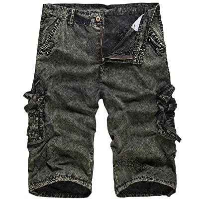 Flygo Mens Cotton Loose Fit Camouflage Camo Cargo Shorts