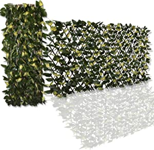 Ralph Expandable Faux Ivy Fence,Artificial Privacy Screen Decor for Outdoor Wall, Balcony and Patio, Single Sided Leaves (2, Yellow-2)