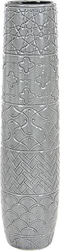 Deco 79 59949 Carved Elongated Ceramic Vase