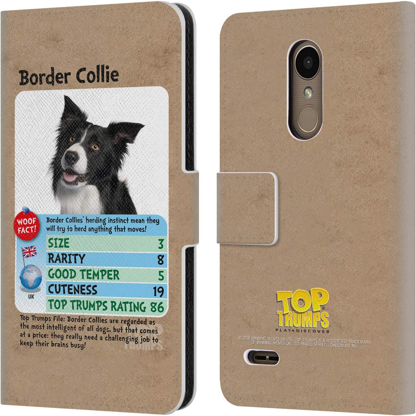 Official Top Trumps Border Collie Dogs 2 Leather Book Wallet Case Cover Compatible for LG K10 / K11 / K11 Plus (2018)