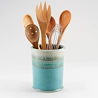 product image for Georgetown Pottery Handmade Kitchen Utensil Holder Green Oribe and Purple, Made in USA, Ceramic Utensil Crock Organizer