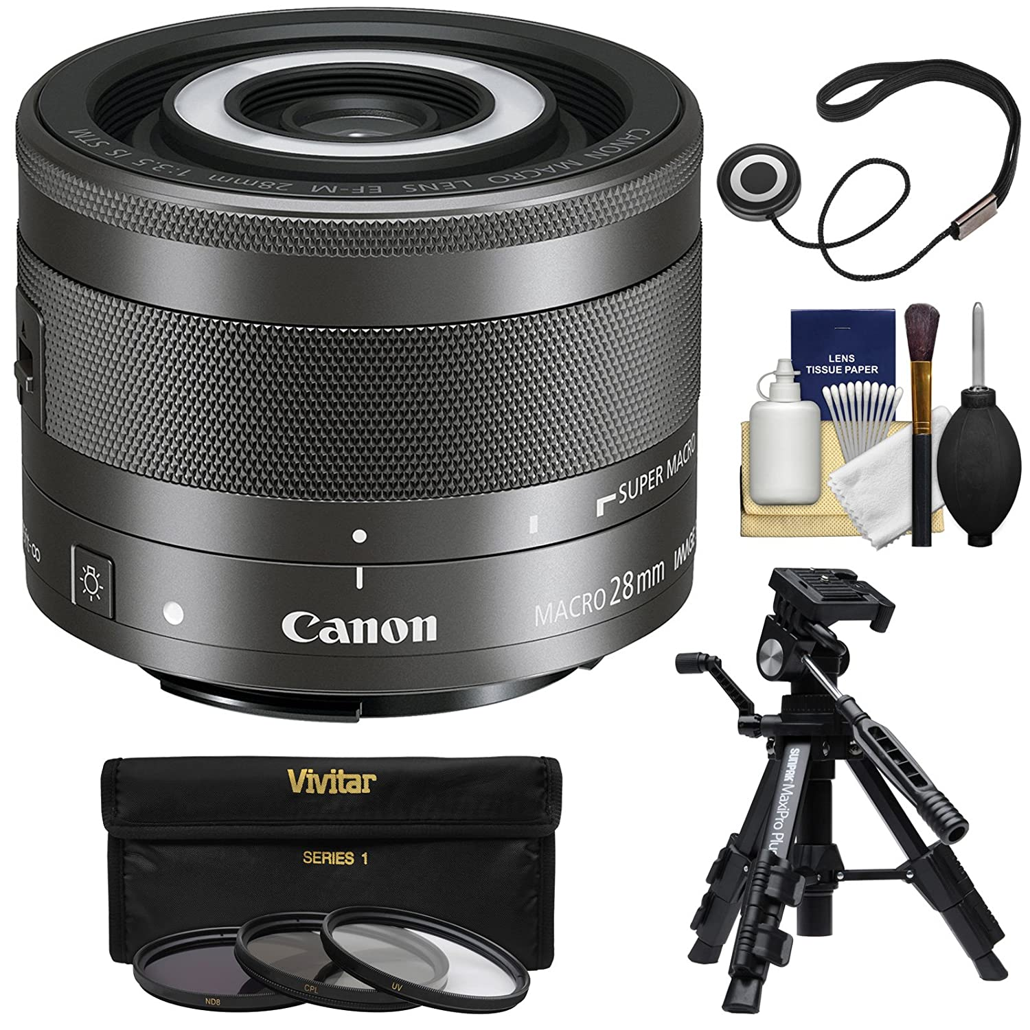 Canon Ef M 28mm F 35 Macro Is Stm Lens With Built In Lite 3 Uv Cpl Nd8 Filters Low Angle Tripod Kit Electronics