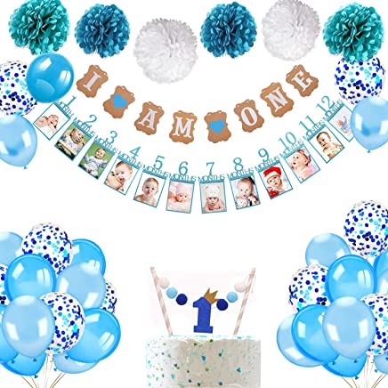 Howaf 1st Birthday Decorations for Boys in Blue Kit, Baby Boy 1st Birthday Party, I AM ONE and 12 Months 1st Birthday Baby Photo Banner, Cake Topper, 6 Tissue Paper Flowers, 25 Blue Balloons Set