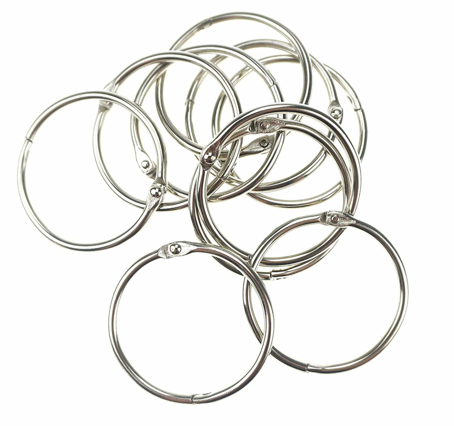 Bilipala 10 Pcs Loose Leaf Binder Rings Book Ring Keychain, Silver, 1.5-Inches 4336865042
