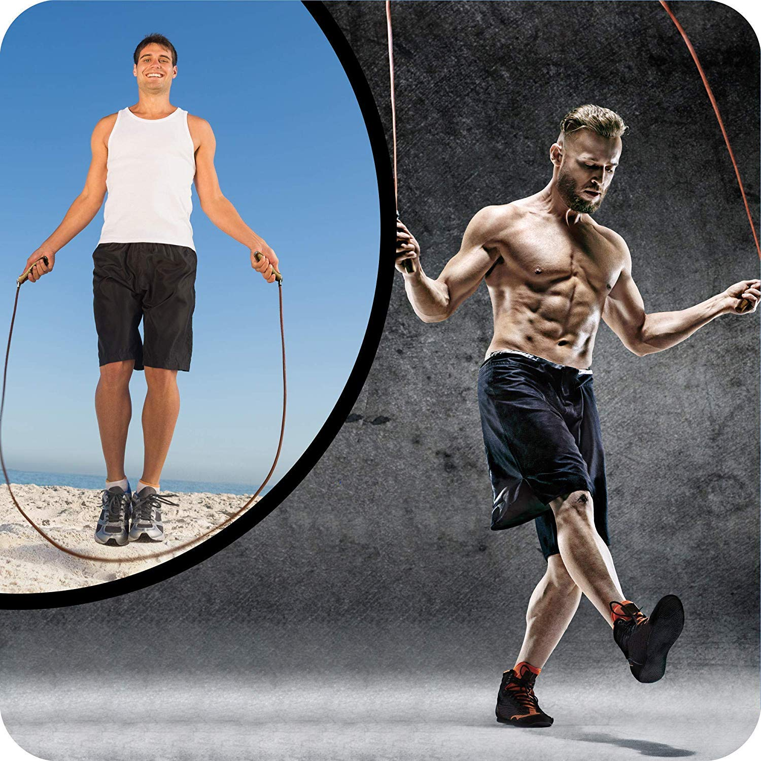 MEISTER PRO SWIVEL SPEED ROPE WEIGHTED Leather Wood Jumping Skipping ADJUSTABLE