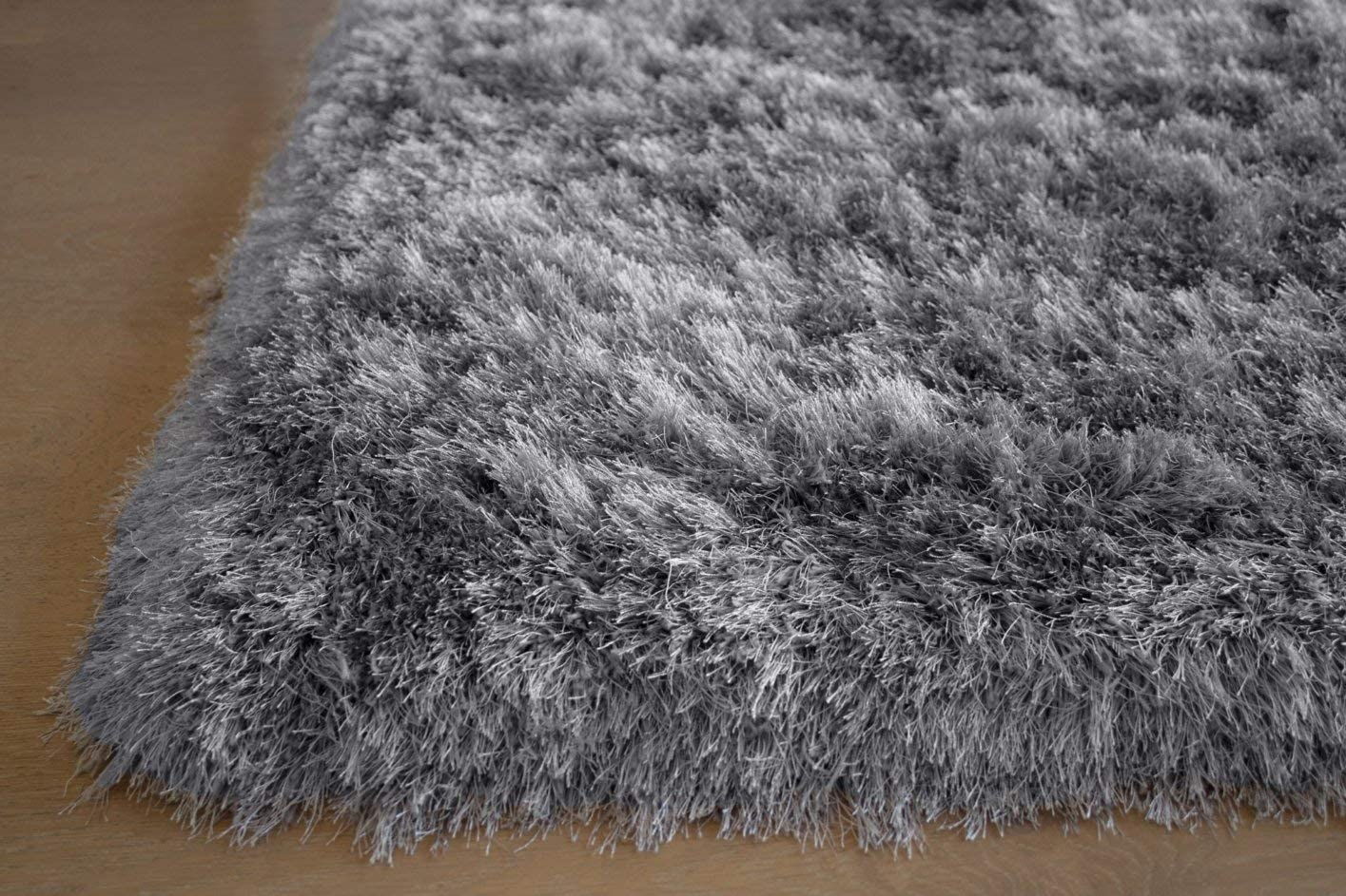 5 x7 Feet Light Gray Grey Colors Shimmer Shag Shaggy Area Rug Carpet Rug Decorative Designer Bedroom Living Room Modern Contemporary Hand Woven Knotted Plush Pile Hard Canvas Backing