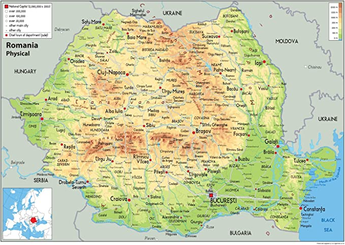 Romania Cartina Stradale.Romania Mappa Fisica Carta Plastificata Ga A0 Size 84 1 X 118 9 Cm Amazon It Cancelleria E Prodotti Per Ufficio