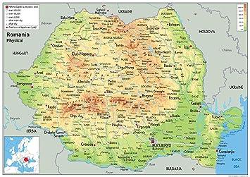 Rumanien Physikalische Karte Papier Laminiert Ga A2 Size 42 X