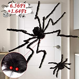 6.56Ft + 1.64Ft Fake Giant Spider Halloween Decorations Black - Outdoor Yard Haunted House Party Decor Supplies