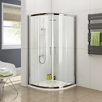 IBathUK 900 X Quadrant 6mm Thick Sliding Glass Shower Enclosure With Tray Free Waste Amazoncouk Kitchen Home