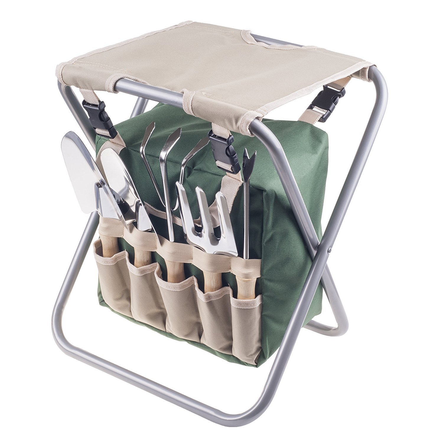 Pure Garden Folding Garden Stool with Tool Bag Plus 5 Garden Tools
