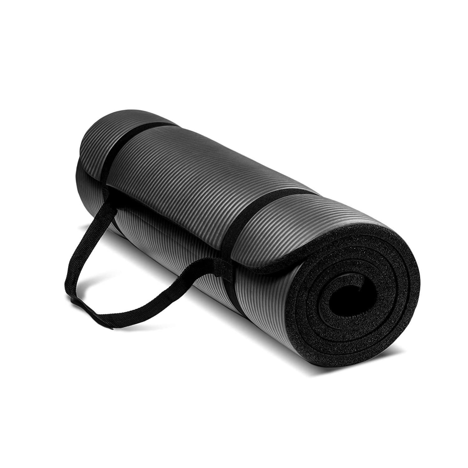 black exercise mat rolled up with strap