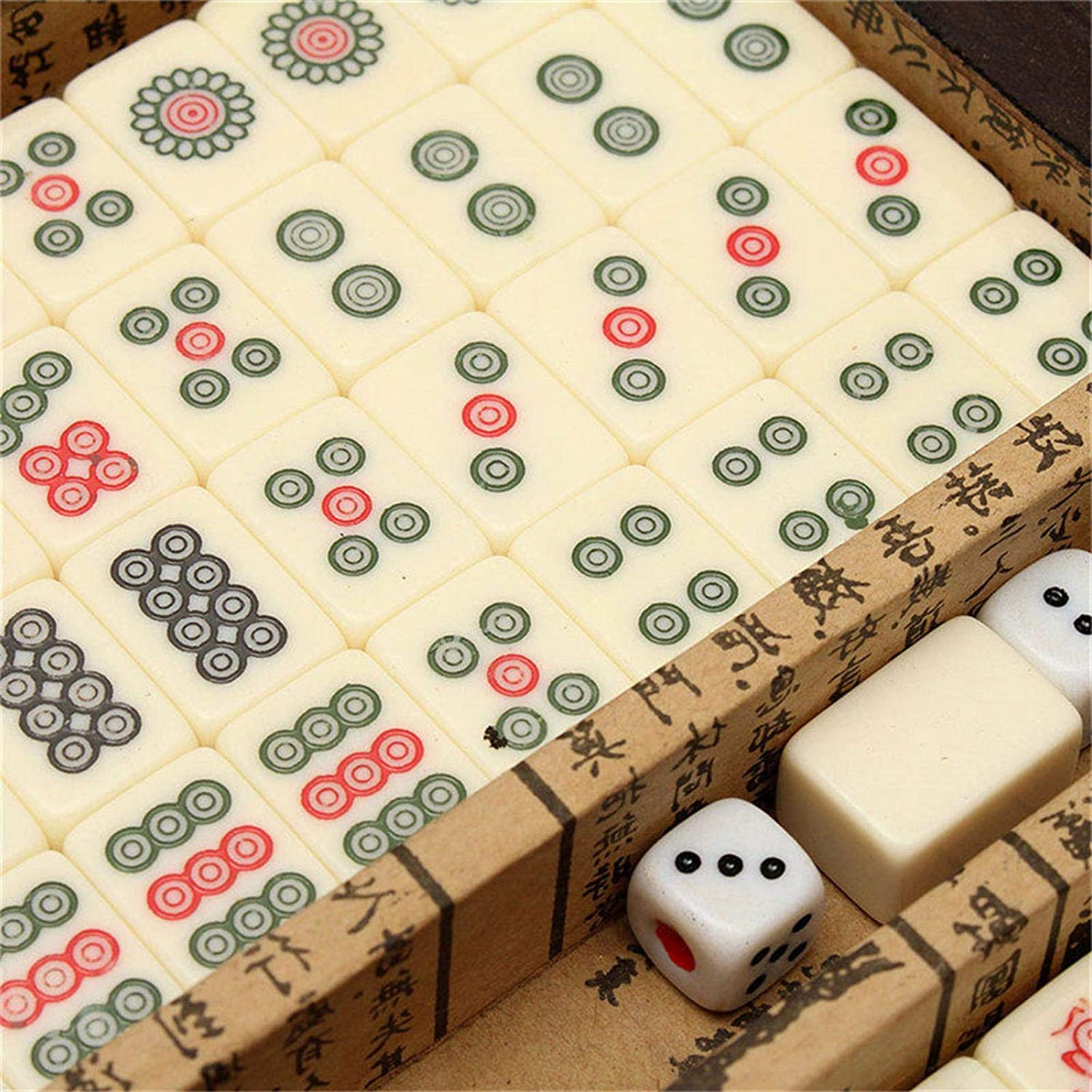 Chinese Traditional Mahjong for Family Leisure Time 144Pcs Travel Mahjong Chinese Version Game Set Portable Mah-jongg with Archaistic Leather Box and Manual