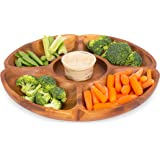 BirdRock Home Acacia Calabash Chip n' Dip Server Dish | Beautiful Natural Wood Grain | Appetizer Dinner Table | 4 Food Sections and 1 Dip Spot | Great for Veggies, Cheese, Crackers
