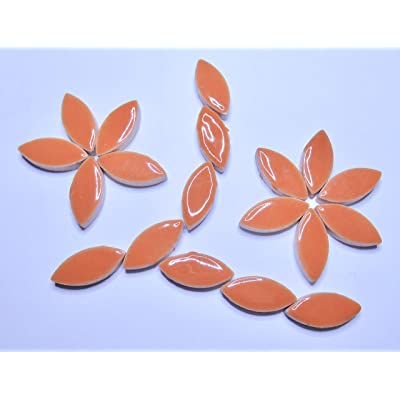 "50 Pieces 1"" Orange Ceramic Leaf Flower Petal Shaped Tiles Mosaic Making Supplies: Arts, Crafts & Sewing"