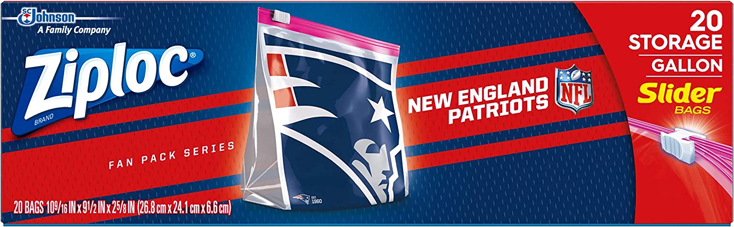 Ziploc Slider Storage Gallon Bag, Great for Grab-and-go Snacking, Tailgating or homegating, 20 Count- NFL New England Patriots