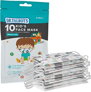 Dr. Talbot's Disposable Kid's Face Mask for Health Protection by Nuby, 10 Pack, Boy