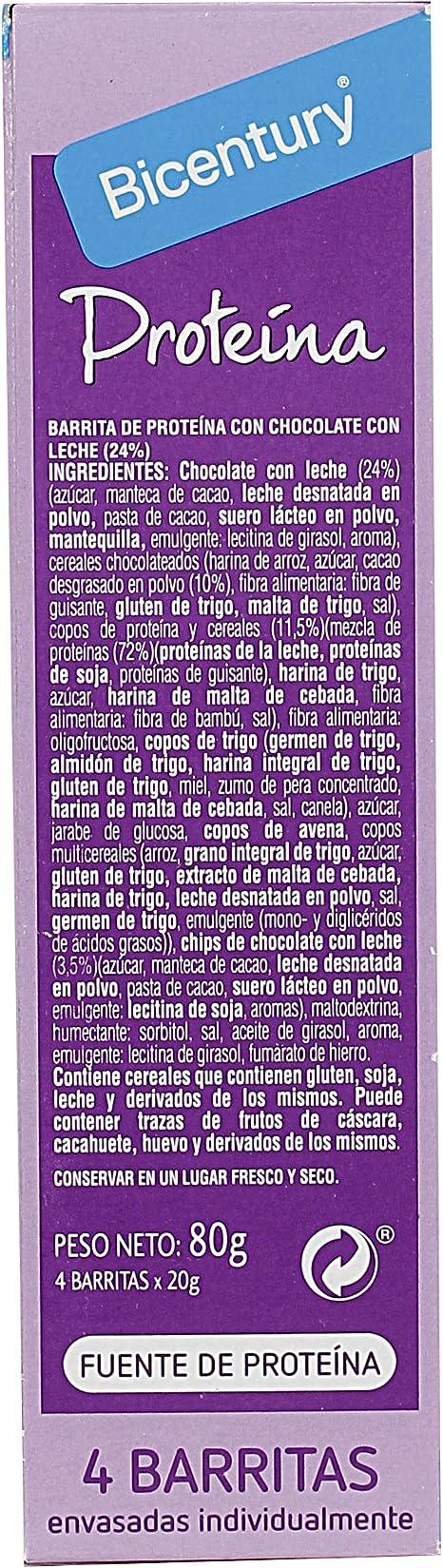 BICENTURY Proteína barrita de cereales con chocolate y leche ...