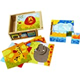 TOWO Wooden Blocks Cube Puzzles - Wooden Cube Jigsaw Puzzles 9 Wooden Cubes Blocks to Make 6 Wild Animals Pictures in a Wooden Box - 6 in 1 Picture Puzzle Wooden Toys for 2 Years Old
