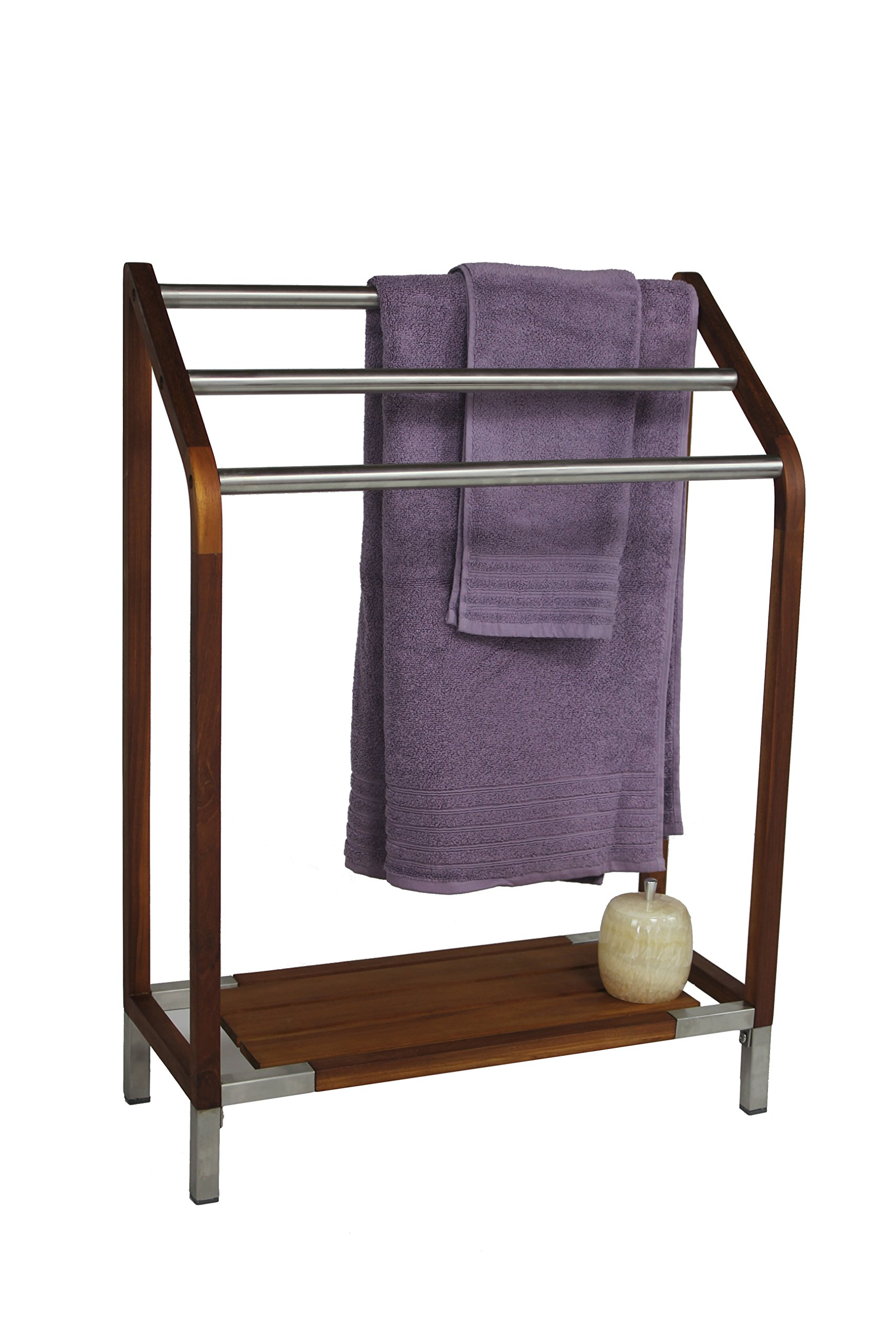 Sula Teak & Stainless Steel Towel Stand