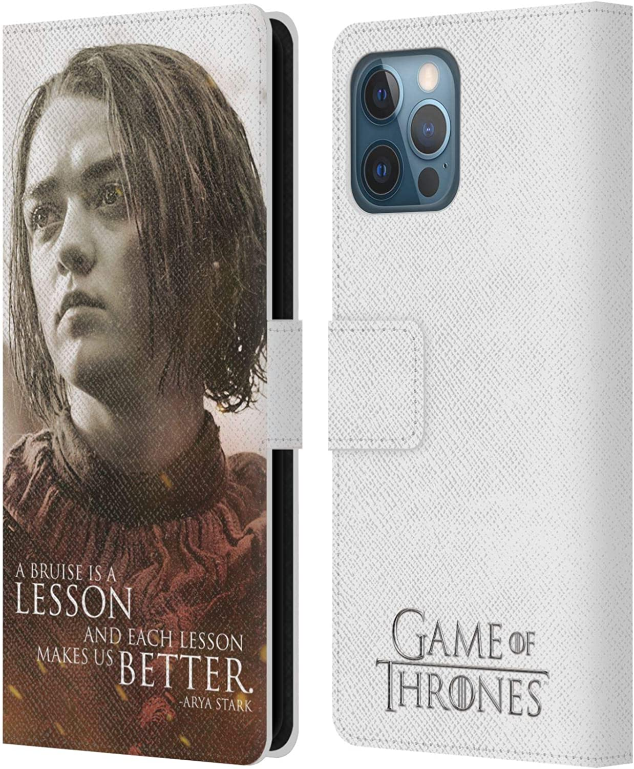 Head Case Designs Officially Licensed HBO Game of Thrones Arya Stark Character Portraits Leather Book Wallet Case Cover Compatible with Apple iPhone 12 Pro Max