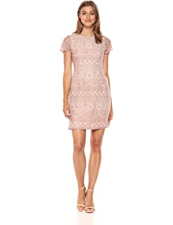 d988364de8 Adrianna Papell Women's Scalloped Striped Lace A-line Dress with Cap Sleeves