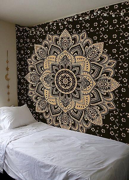 Madhu International Exclusive Black Gold Mandala Tapestry Bohemian Tapestries Twin Size