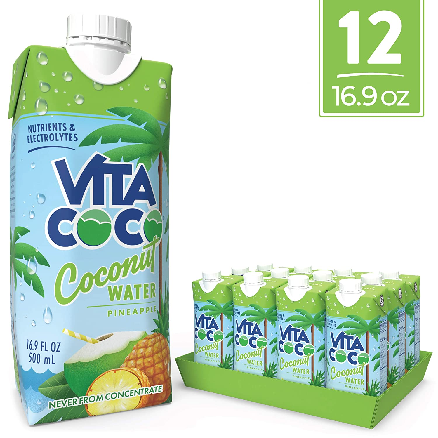 Vita Coco Coconut Water, Pineapple - Naturally Hydrating Electrolyte Drink - Smart Alternative to Coffee, Soda, and Sports Drinks - Gluten Free - 16.9 Ounce (Pack of 12) 81T8xfNVj6L
