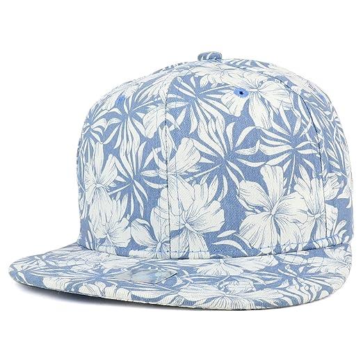 ecd5c86a Trendy Apparel Shop Tropical Flower Pattern Print Cotton Flatbill Snapback  Cap - Light Blue at Amazon Men's Clothing store: