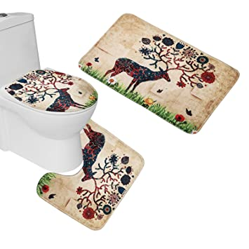 amazon com amagical bathroom rugs and mats sets 3 piece colorful rh amazon com Bath Set Amazon Contemporary Bathroom Rugs Sets