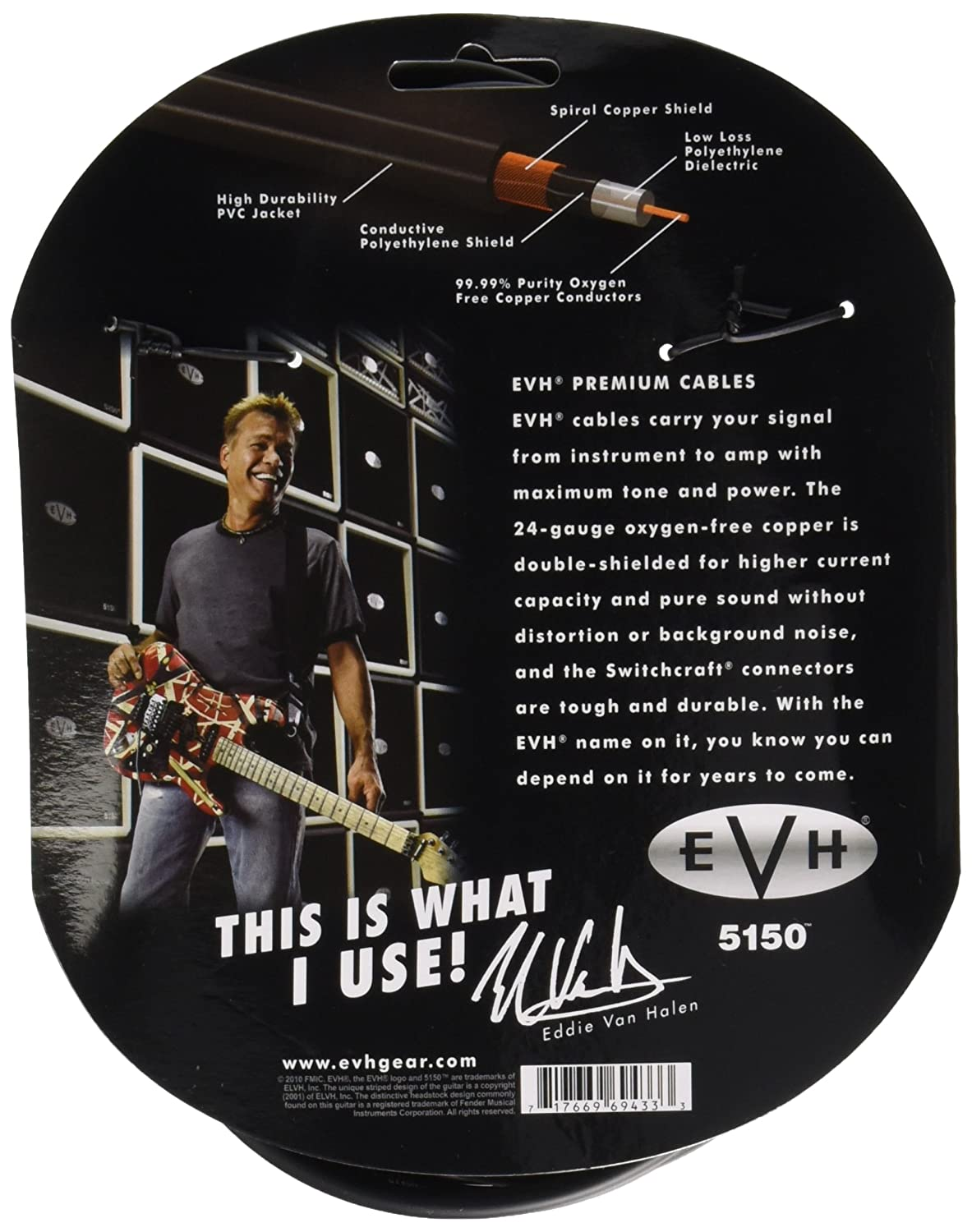Amazon.com: EVH Premium Instrument Cable - 20\': Musical Instruments