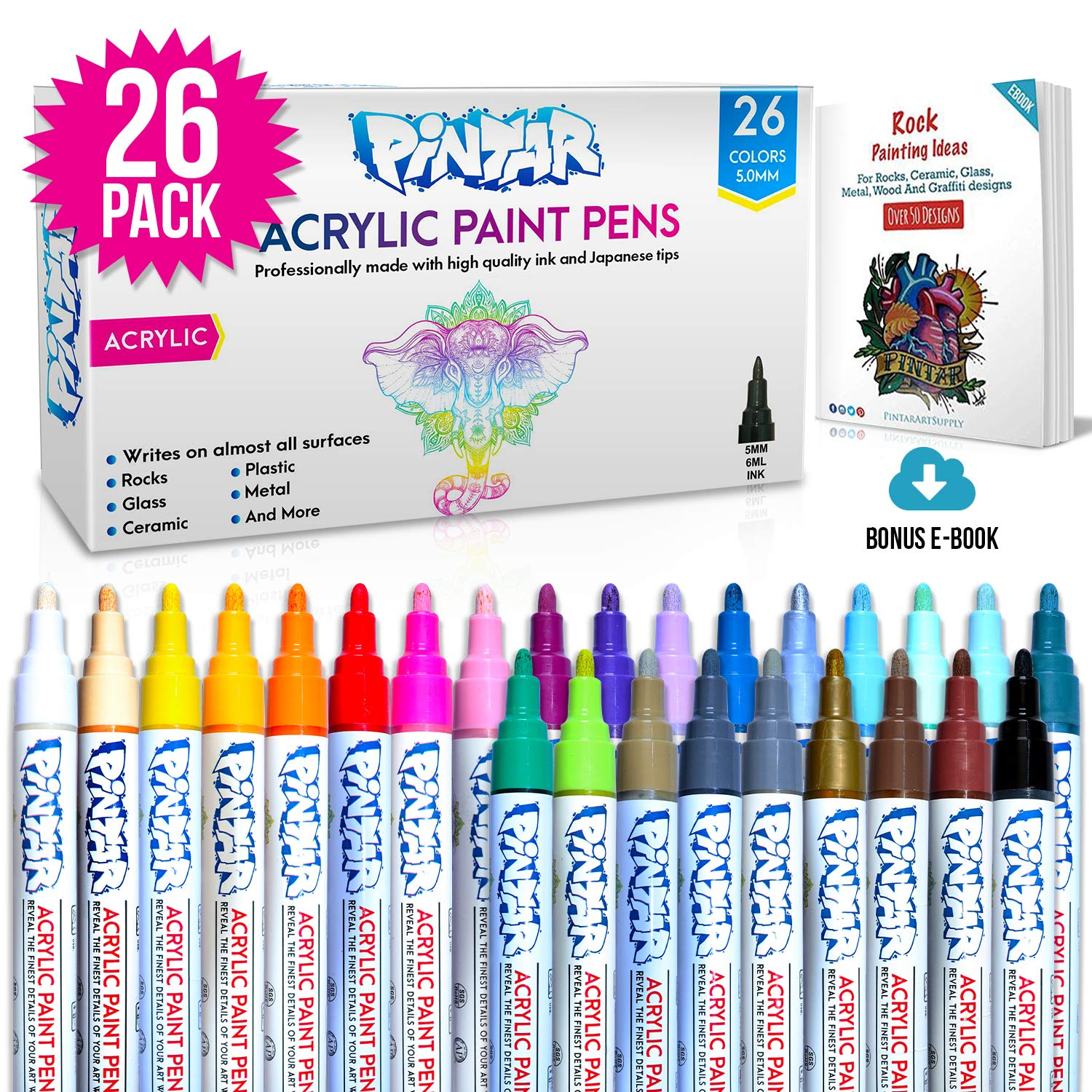 Acrylic Paint markers For Rock Painting, Stone, Ceramic, Glass, Wood - Works On Most Surfaces Water Based vibrant Colors - Water Resistant Office Supplies, Arts And Crafts (26 Colors) by PINTAR