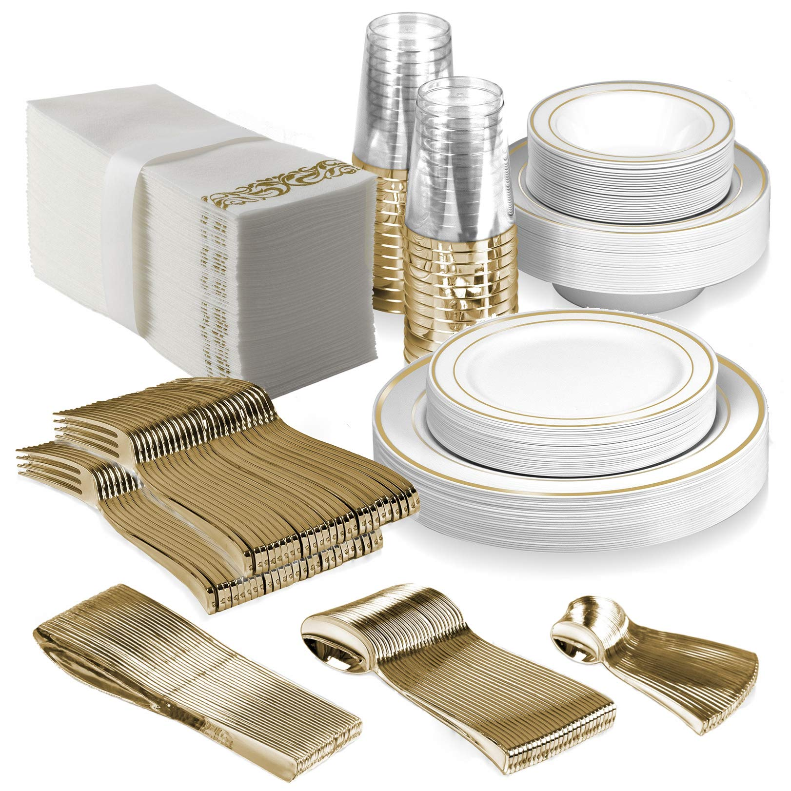 25 Guest Disposable Gold Dinnerware Set | Heavy Duty Plastic Plates, Cups, Silverware & Napkins. 50 Forks, 25 Spoons, 25 Dessert Spoons, 25 Knives, 25 Dinner Plates, 25 Dessert Plates, 25 Soup Bowls by BloominGoods (Image #1)