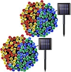 JMEXSUSS 2 Pack Solar String Light 200LED 75.5ft 8 Modes Solar Christmas Lights Waterproof for Gardens, Wedding, Party, Christmas Tree,Halloween,Homes,Xmas,Outdoors (200LED-Multicolor-2Pack)