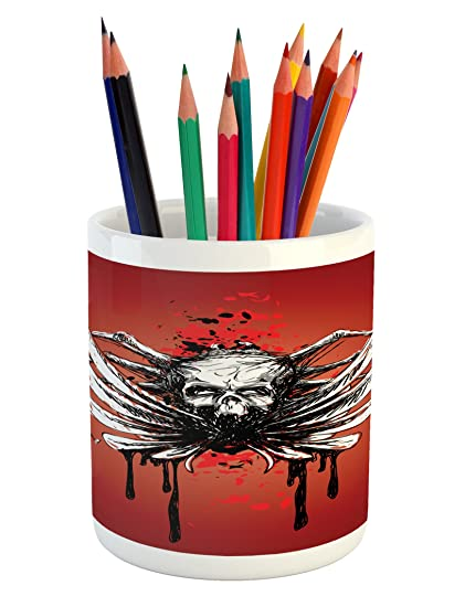 Merveilleux Lunarable Gothic Pencil Pen Holder, Dead Skull With Wings And Blood Evil  Spider Skeleton Horror