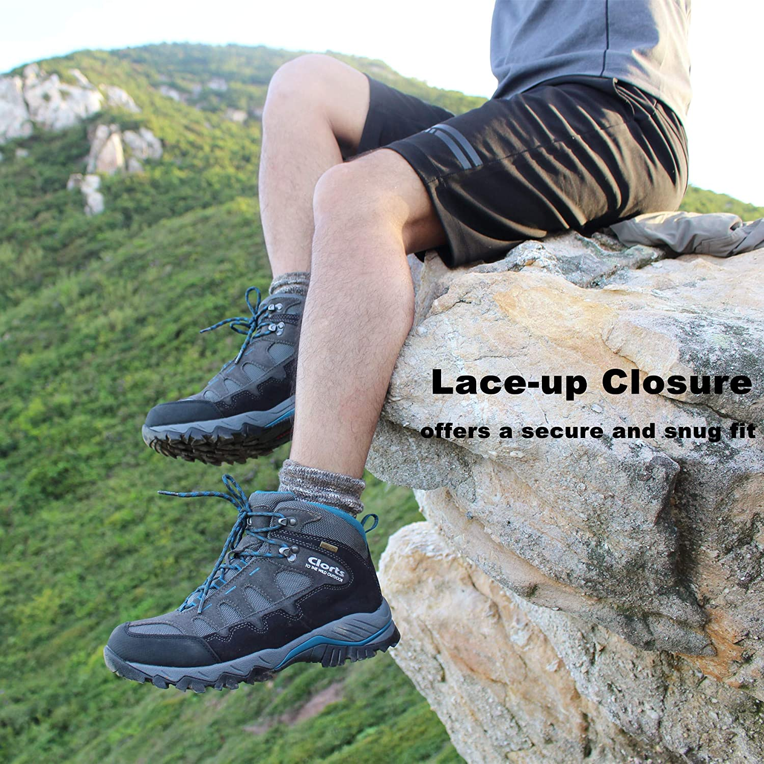 Clorts Mens Mid Hiking Boot Hiker Leather Waterproof Lightweight Outdoor Backpacking Trekking Shoe