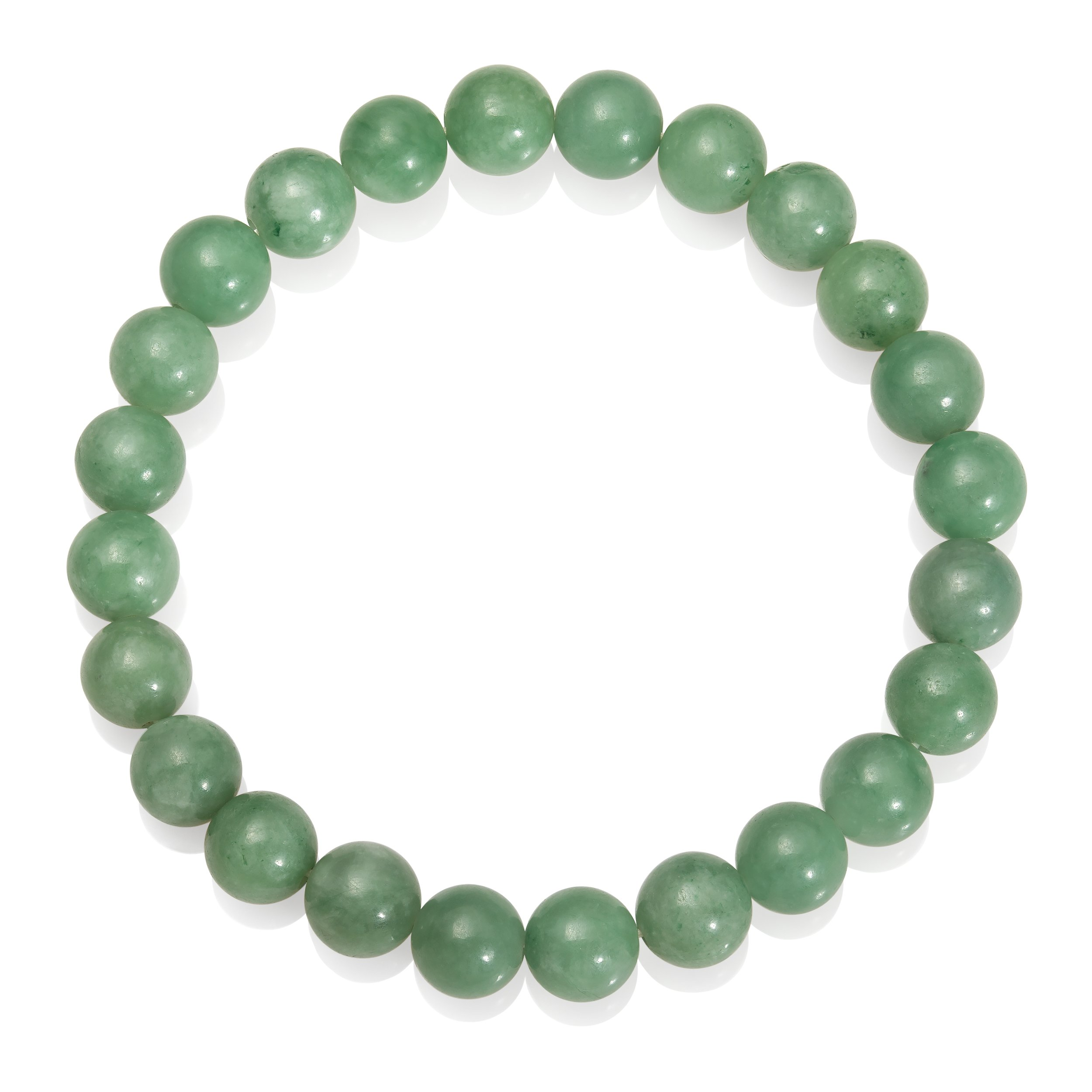 8mm Natural Green Jade Strand-Style Stretch Bracelet, 8.5'' by Pearlzzz