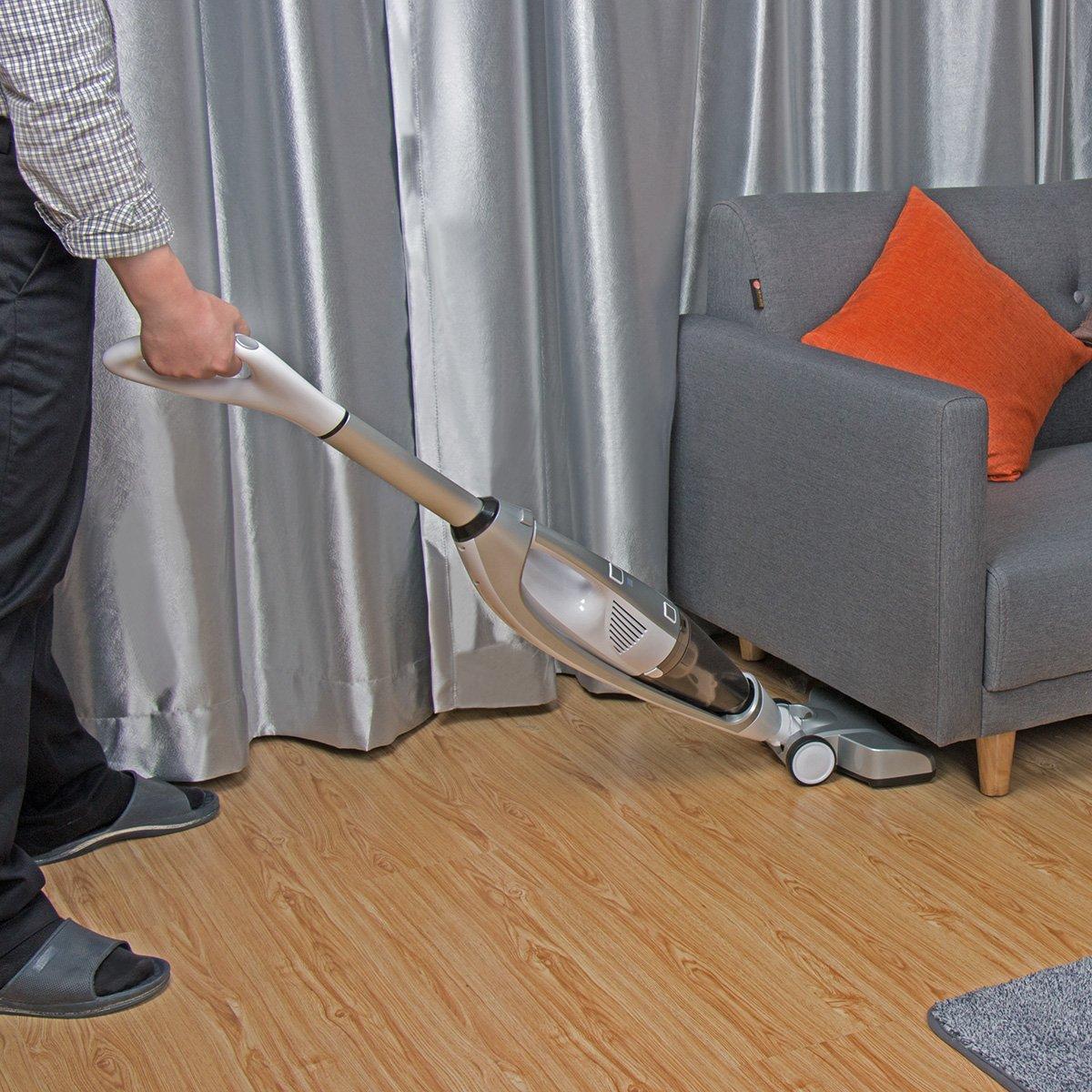 Cordless Vacuum Cleaner, EVERTOP 4 in 1 Bagless Stick Upright Vacuum Cleaner, Handheld Vacuum Cleaner, Floor Carpet Sweeper, Wet-Dry Vacuum Mop Cleaner for Hard Floor, Thin Carpet (Silver)