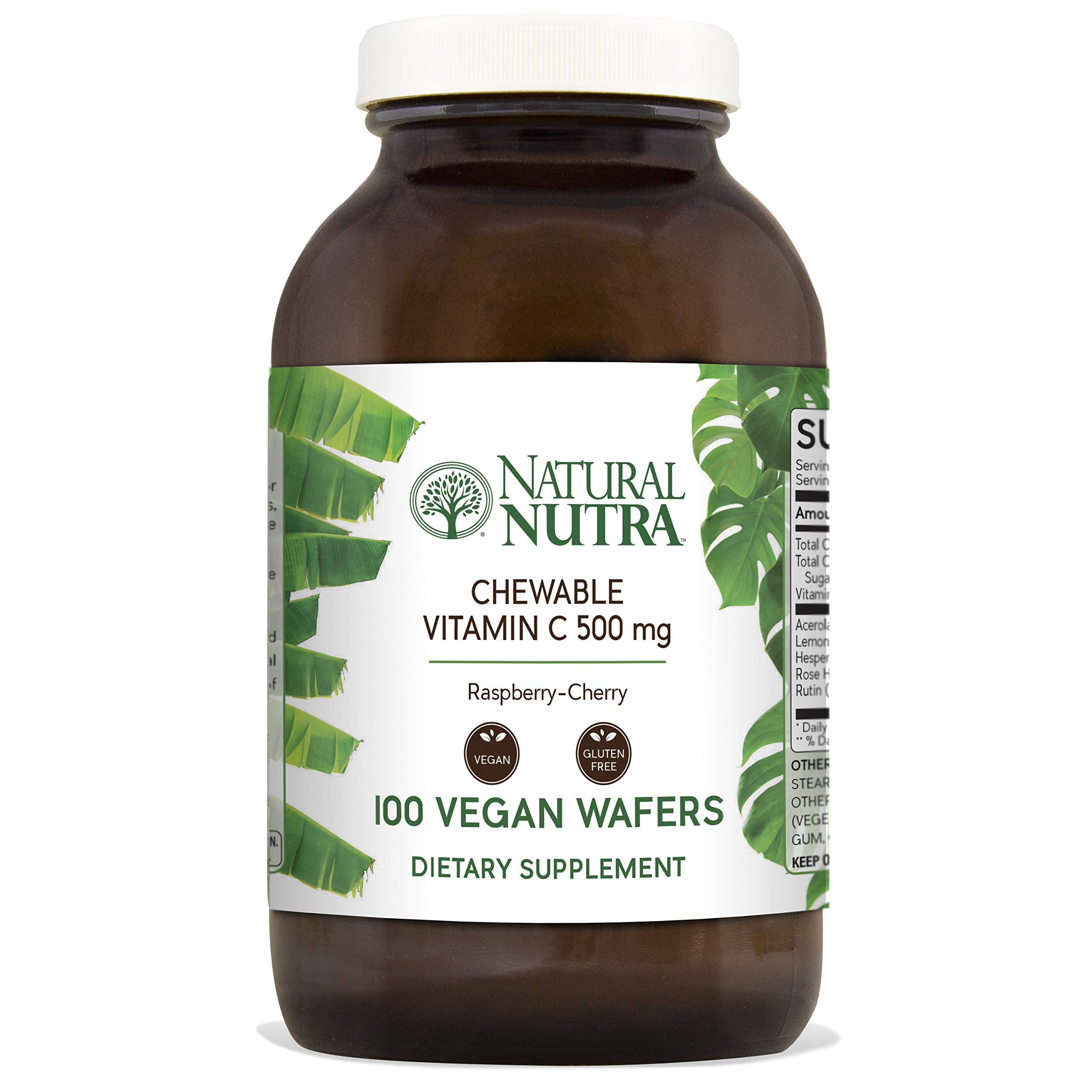 Natural Nutra Chewable Vitamin C Supplement 500 mg with Acerola, Bioflavonoids and Rosehips for Kids and Adults, High Potency, Delicious Raspberry and Cherry Flavor, 100 Vegan Wafers