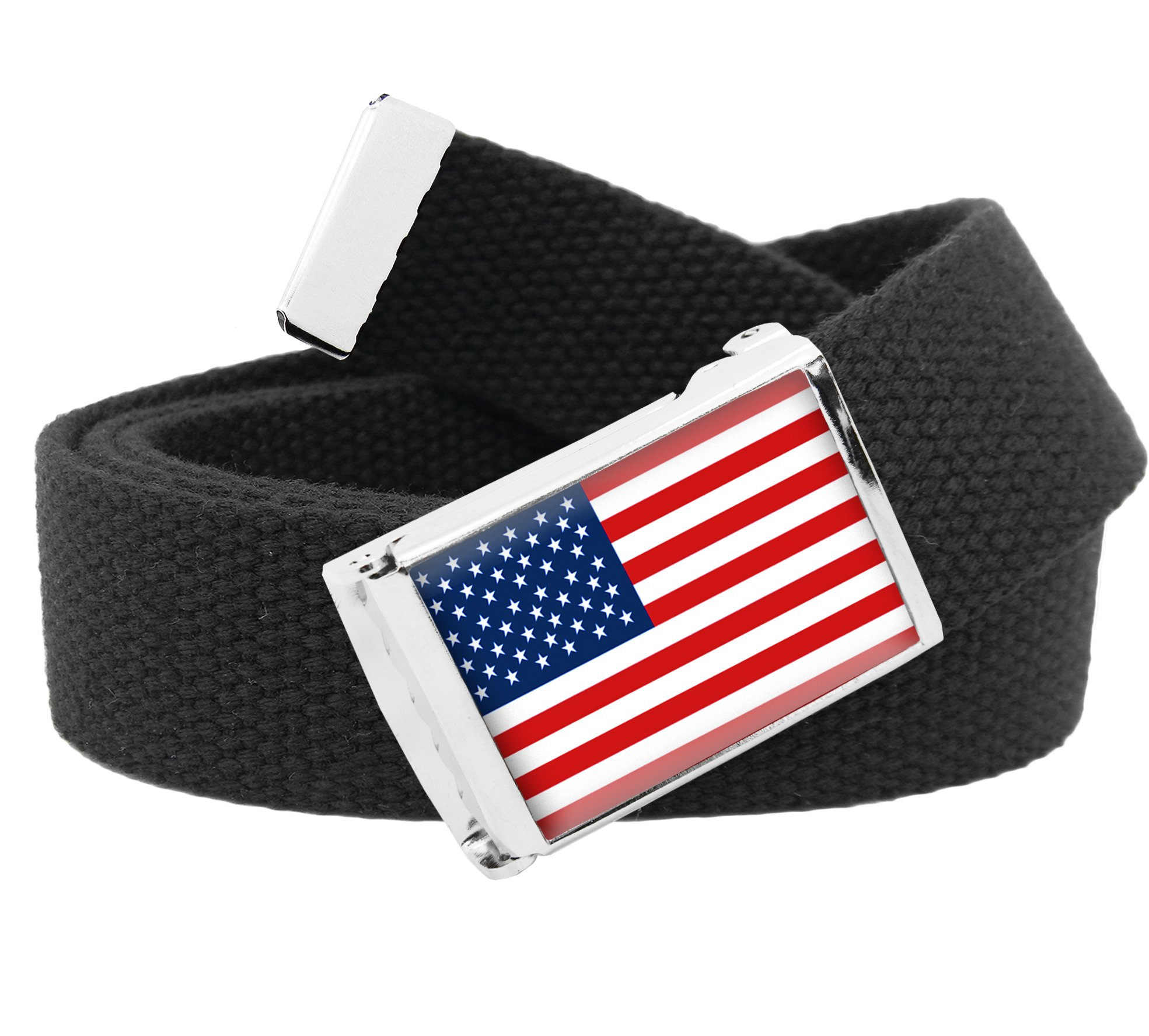 American Flag Flip Top Womens Belt Buckle with Canvas Web Belt Small Black