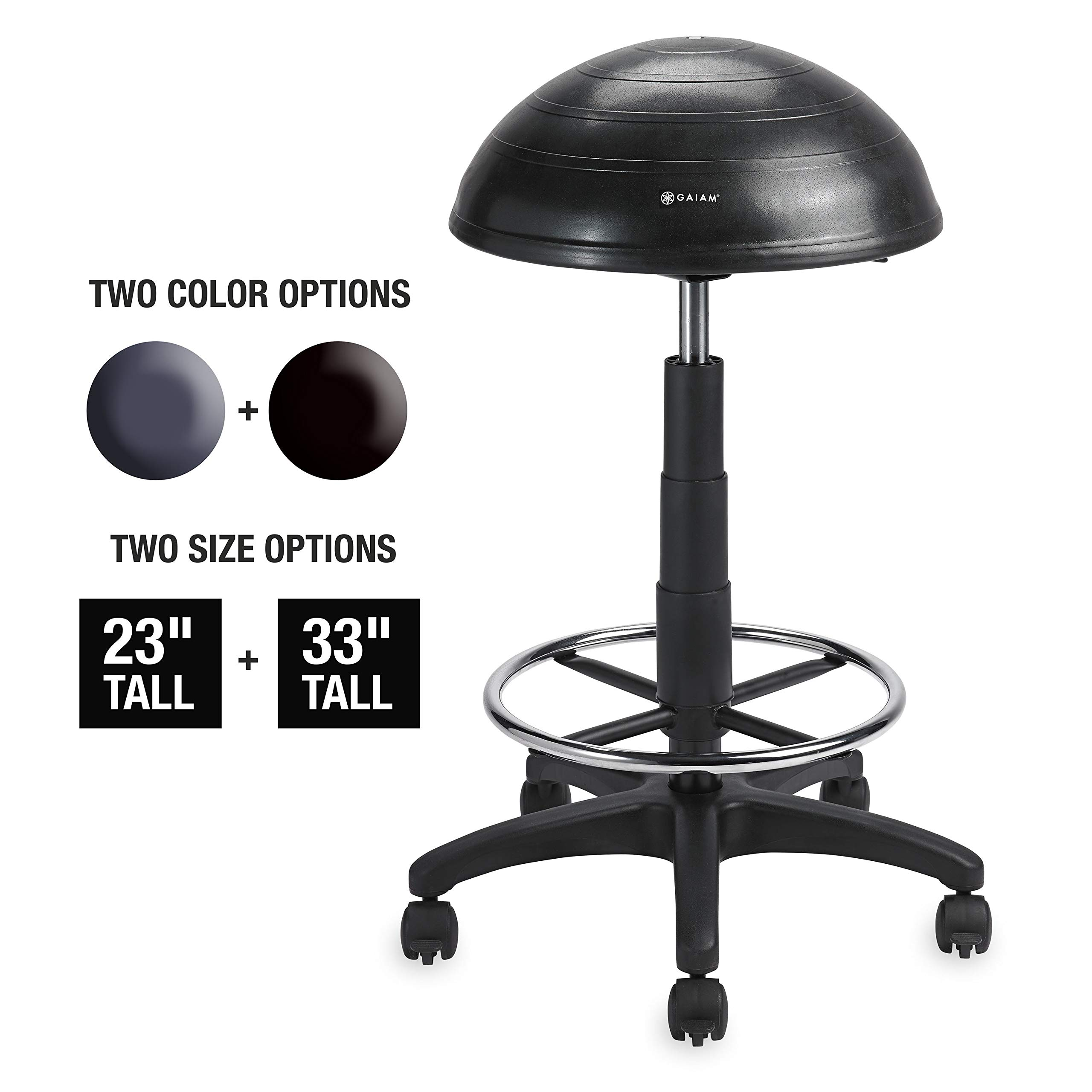Gaiam Balance Ball Chair Stool, Half-Dome Stability Ball Adjustable Tall Office Sit Stand Swivel Desk Chair Drafting Stool with Round Foot Rest for Standing Desks Home or Office - Black 33 by Gaiam Active Sitting