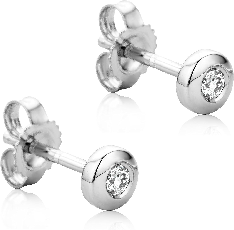 Orovi Pendientes Señora Solitario presión en Oro Blanco con Diamantes Talla Brillante 0.08 ct Oro 9 Kt / 375