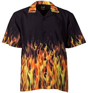 aaa28278 Benny's Red Flames Bowling Shirt at Amazon Men's Clothing store: