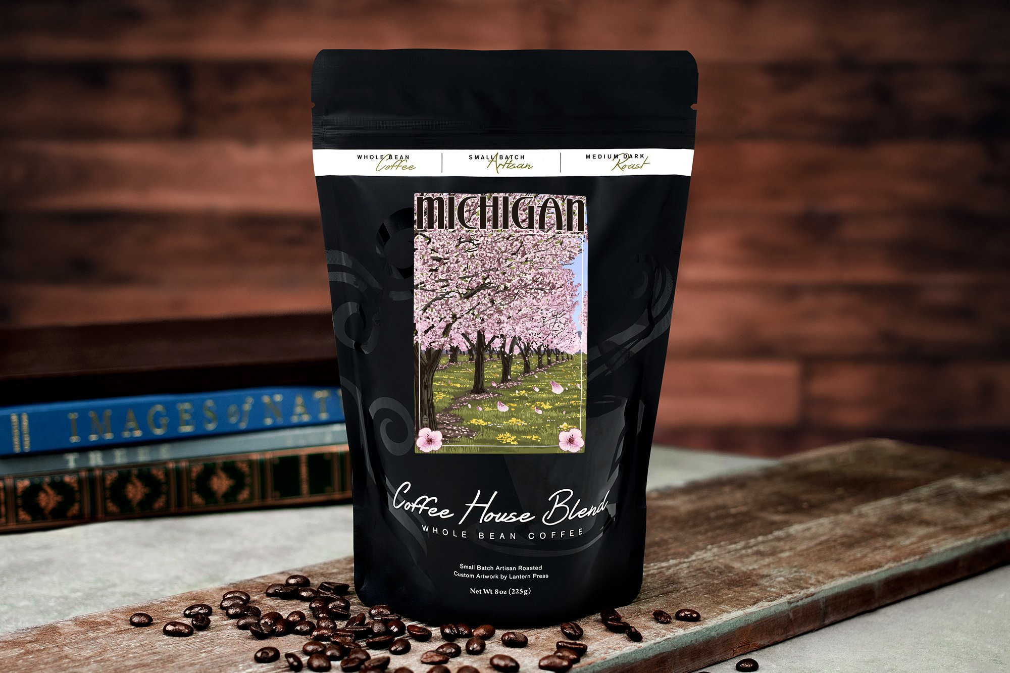 Michigan - Cherry Orchard in Blossom (8oz Whole Bean Small Batch Artisan Coffee - Bold & Strong Medium Dark Roast w/ Artwork) by Lantern Press (Image #2)