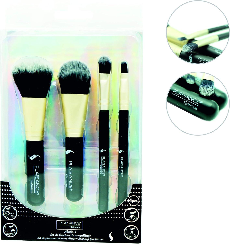 Plaisance Platinum. Make 4. Set de Brochas de maquillaje profesional. 4 piezas de brochas para sombras de ojos. Brochas de pelo sintético Color negro/dorado: Amazon ...