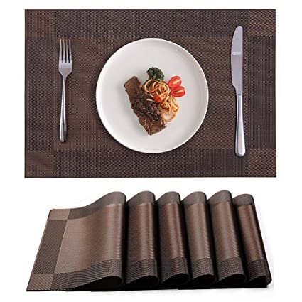 yongle placemat set of 6 pvc placemats for dining table heat insulation stain resistant woven