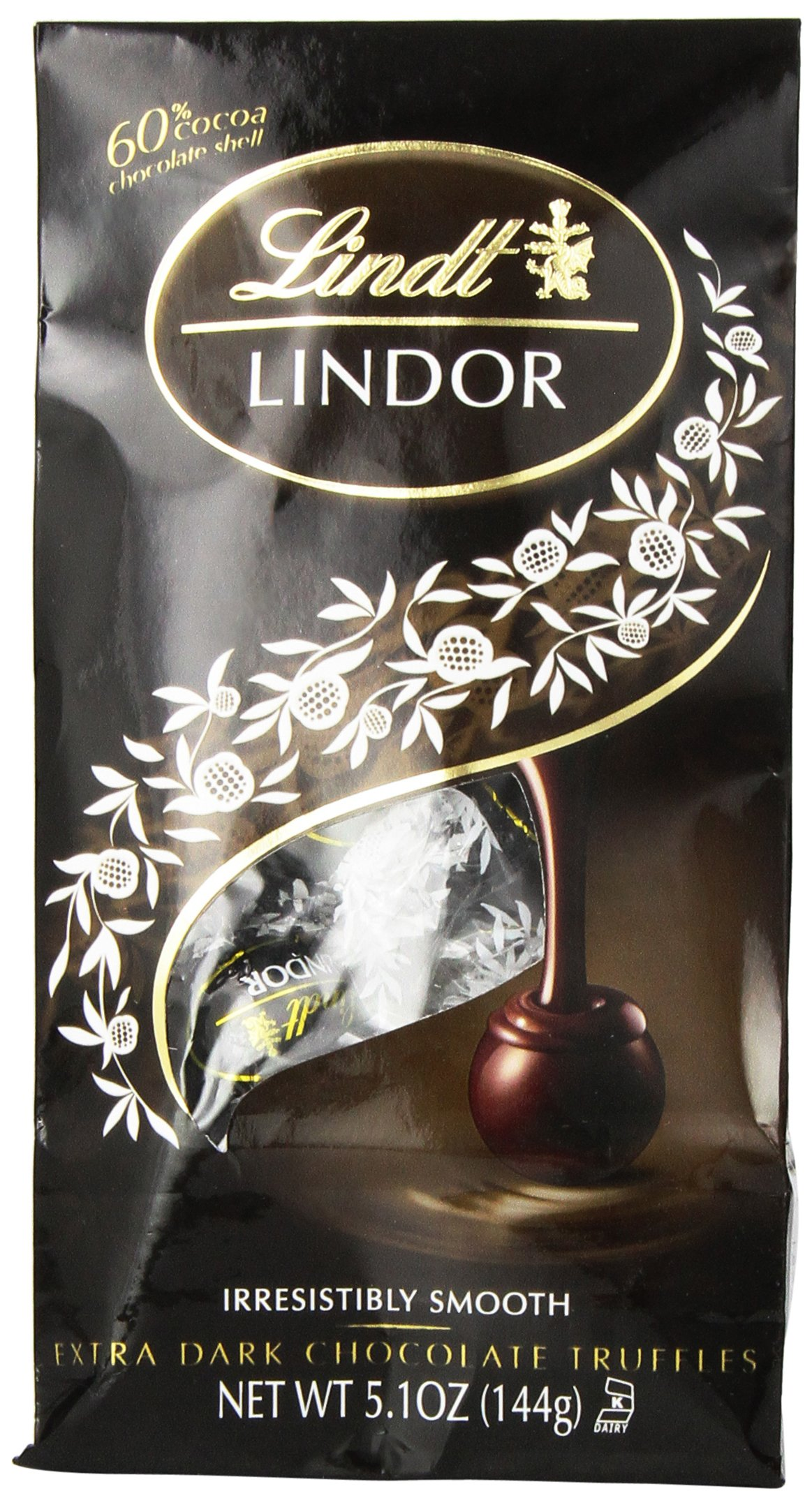 Lindt LINDOR 60% Extra Dark Chocolate Truffles, 5.1 Ounce (Pack of 6) by Lindt
